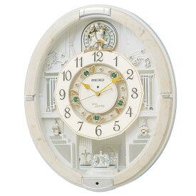 セイコー クロック 掛け時計 電波 からくり トリプルセレクション メロディ 回転飾り アイボリーマーブル 模様 RE576A SEIKO