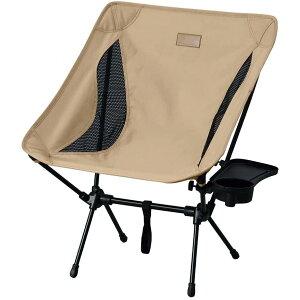 アウトドア チェア キャンプチェア ロータイプ ベージュ HUGEL(ヒューゲル) CC-LOW ドリンクホルダー ミニテーブル サイドテーブル イス 椅子 おしゃれ アイリスオーヤマ