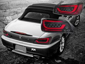 S2000 LEDテール AP1 AP2 DEPO製 ファイバーLEDテールランプ ブラック 流れるウインカー シーケンシャルウインカー 78WORKS (D068BK
