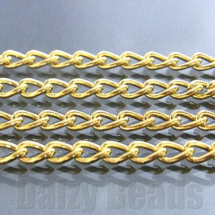 【8パック1セット】【チェーンパーツ金具】【ゴールド】約2.5x4mm太さ0.6mm長さ1m