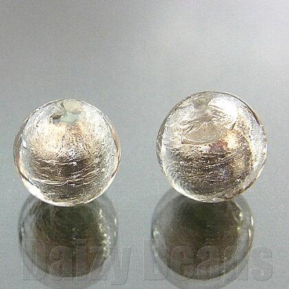 【8パック1セット】【ベネチアンビーズ】925シルバーフォイル丸玉約10mmクリアー1ヶ【ベネチアンヴェネチアンヴェネチアンビーズ】