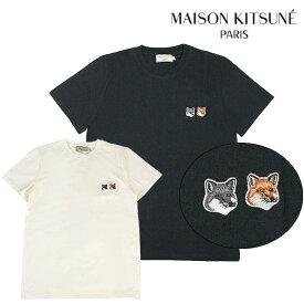 MAISON KITSUNE Tシャツ メゾンキツネ メンズ レディース ユニセックス 半袖 DOUBLE FOX HEAD PATCH TEE(全2色)【BU00103KJ0008】