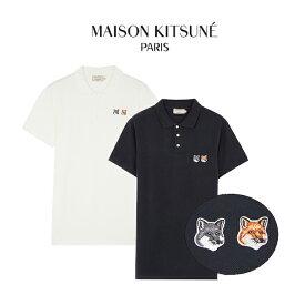 【年に一度の大決算SALE】MAISON KITSUNE ポロシャツ メゾンキツネ メンズ 半袖 キツネ 顔 DOUBLE FOX HEAD PATCH POLO(ANTHRACITE/LATTE)【BU00200KJ7002】