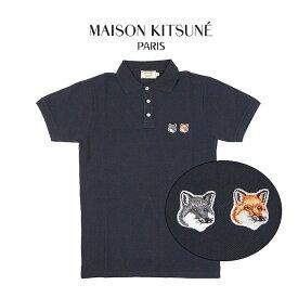 MAISON KITSUNE ポロシャツ メゾンキツネ メンズ 半袖 DOUBLE FOX HEAD PATCH POLO(ANTHRACITE)【BU00200KJ7002】