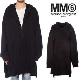 MM6 MAISON MARGIELA スウェット HOODIE エムエムシックス メゾンマルジェラ ドロップショルダー オーバーサイズ ジップアップパーカー (900 BLACK)OVERSIZE FULL ZIP HOODY【S52GU0064-S25387】