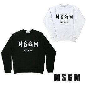MSGM メンズ スウェット エムエスジイエム ブラシストロークロゴ 筆ロゴ ラグラン REGULAR SWEATSHIRT WITH BRUSHSTROKE MSGM LOGO(全2色)【2640MM104-2740MM104】