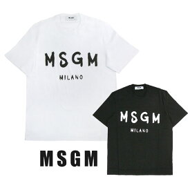 MSGM Tシャツ メンズ エムエスジーエム メンズ ブラシストロークロゴ Tシャツ REGULAR T-SHIRT WITH BRUSHSTROKE MSGM LOGO (全2色) エムエスジイエム 【2740MM97 195797】