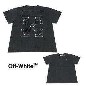 【半期に一度の 決算SALE】OFF-WHITE Tシャツ オフホワイト メンズ 半袖Tシャツ BACKBONE S/S OVER TEE(BLACK / SILVER)【OMAA038E191850011091】
