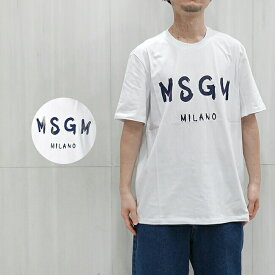 MSGM Tシャツ メンズ エムエスジーエム メンズ ブラシストロークロゴ Tシャツ REGULAR T-SHIRT WITH BRUSHSTROKE MSGM LOGO (WHITE / NAVY) 【2740MM97 195797】【2840MM97 20709899】