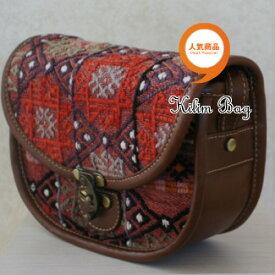 【送料無料】【ウェブ特価】トルコ雑貨 トルコ オールド 手織り キリム 本革 ななめがけ ポシェット バッグ
