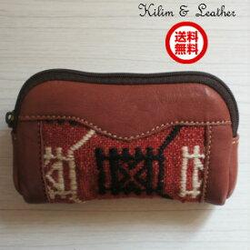 【送料無料】【ウェブ特価】トルコ雑貨 トルコ オールド 手織り キリム 小物 本革 ポーチ