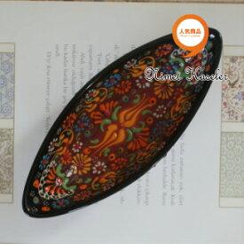 トルコ雑貨 トルコ 雑貨 キュタフヤ ニメット 工房 手描き 陶器 ゴンドラ型 Mサイズ (約20cm×約7.5cm) ブラック × レッド