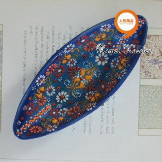 トルコ雑貨 トルコ 雑貨 キュタフヤ ニメット 工房 手描き 陶器 ゴンドラ型 Mサイズ (約20cm×約7.5cm)ブルー
