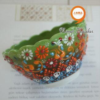 トルコ雑貨 トルコ 雑貨 キュタフヤ ニメット 工房 手描き 陶器 フラワー型 深鉢タイプ Mサイズ (直径12cm)グリーン