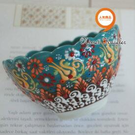 トルコ雑貨 トルコ 雑貨 キュタフヤ ニメット 工房 手描き 陶器 フラワー型 深鉢タイプ Mサイズ (直径12cm)ミントグリーン