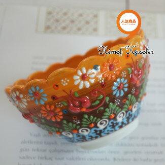 トルコ雑貨 トルコ 雑貨 キュタフヤ ニメット 工房 手描き 陶器 フラワー型 深鉢タイプ Mサイズ (直径12cm)イエロー