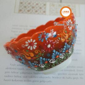 トルコ雑貨 トルコ 雑貨 キュタフヤ ニメット 工房 手描き 陶器 フラワー型 深鉢タイプ Mサイズ (直径12cm)オレンジ