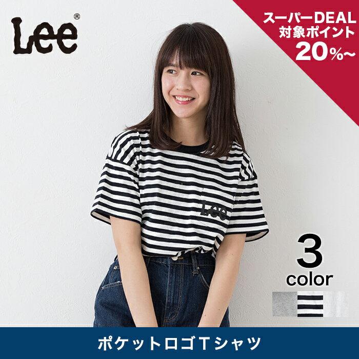 【Lee】 ポケットロゴTシャツ クルーネック レディース トップス Tシャツ 半袖