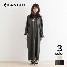 【KANGOL】カンゴール ミニ裏毛ワンポイント刺繍BIGワンピース  ワンピース ビッグシルエット かわいい シンプル  ワンポイント アイボリー カーキ インクブラック