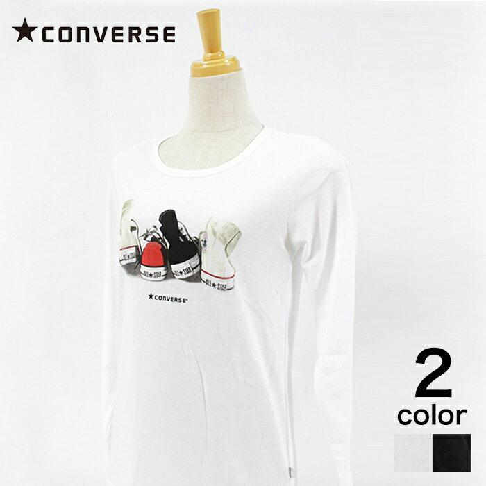 【CONVERSE】 コンバース T/C天竺写真Pt長袖Tシャツ レディース トップス Tシャツ 長袖 オフ ブラック