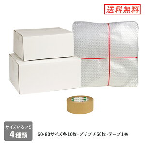 ダンボール 段ボール箱 梱包キット白(段ボール2サイズプチプチテープセット)
