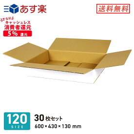 ダンボール (段ボール箱) 薄型(白) 宅配120サイズ 【600 × 430 × 深さ 130 mm】 30枚セット