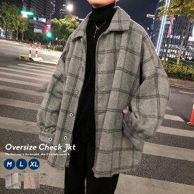 韓国 ファッション 冬 メンズ ビックシルエット ジャケット チェック ウィンドペン アウター ストリート コート おしゃれ オルチャンファッション ウール 韓国服 上着 ブルゾン