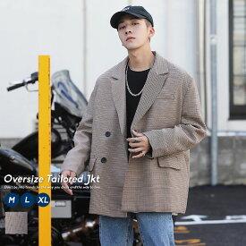 韓国 ファッション 冬 メンズ テーラードジャケット ダブル ビックシルエット コート チェック ガンクラブチェック ストリート おしゃれ オルチャンファッション 韓国服
