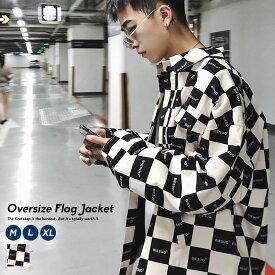 韓国 ファッション メンズ ジャケット 秋冬 チェッカー ビックシルエット ストリート おしゃれ オルチャンファッション 韓国服 モード