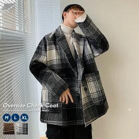 韓国 ファッション 冬 メンズ チェックコート ウール タータンチェック ミディアム丈 チェスターコート ストリート おしゃれ オルチャンファッション 韓国服