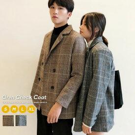 韓国 ファッション 秋冬 ペアルック グレンチェック コート カップル ペアコート おしゃれ ウール オルチャンファッション 韓国服 デート おでかけコーデ おそろ