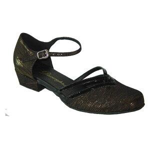 ダンスシューズ・社交ダンスシューズ・レディース【セミオーダー】女性兼用シューズ・黒ブラック・ラメ888107セミオーダー品ですのであなたにぴったりの1足がつくれますよ♪