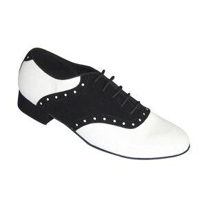 ダンスシューズ・社交ダンスシューズ・メンズ【セミオーダー】男性モダンシューズ・白黒コンビ251401セミオーダー品ですのであなたにぴったりの1足がつくれますよ♪