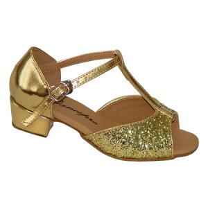 ダンスシューズ・社交ダンスシューズ・ジュニア【セミオーダー】女子・子供ラテンシューズ・ゴールド・ラメ160904Bセミオーダー品ですのであなたにぴったりの1足がつくれますよ♪