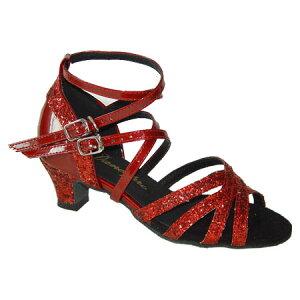 ダンスシューズ・社交ダンスシューズ・ジュニア【セミオーダー】女子・子供ラテンシューズ・赤レッド・ラメ162709Bセミオーダー品ですのであなたにぴったりの1足がつくれますよ♪