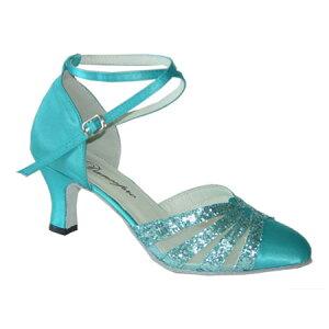 ダンスシューズ・社交ダンスシューズ・レディース【セミオーダー】女性兼用シューズ・ブルー684102セミオーダー品ですのであなたにぴったりの1足がつくれますよ♪