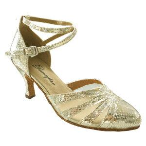 ダンスシューズ・社交ダンスシューズ・レディース【セミオーダー】女性兼用シューズ・ゴールド684106セミオーダー品ですのであなたにぴったりの1足がつくれますよ♪