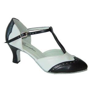 ダンスシューズ・社交ダンスシューズ・レディース【セミオーダー】女性兼用シューズ・白黒コンビ684902セミオーダー品ですのであなたにぴったりの1足がつくれますよ♪