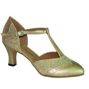 ダンスシューズ・社交ダンスシューズ・レディース【セミオーダー】女性兼用シューズ・ゴールド684903セミオーダー品ですのであなたにぴったりの1足がつくれますよ♪