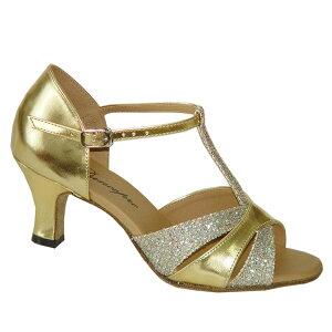 ダンスシューズ・社交ダンスシューズ・レディース【セミオーダー】女性ラテンシューズ・ゴールド・ラメ160804セミオーダー品ですのであなたにぴったりの1足がつくれますよ♪
