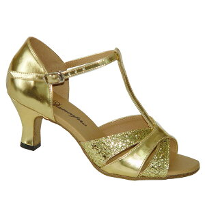 ダンスシューズ・社交ダンスシューズ・レディース【セミオーダー】女性ラテンシューズ・ゴールド・ラメ160806セミオーダー品ですのであなたにぴったりの1足がつくれますよ♪