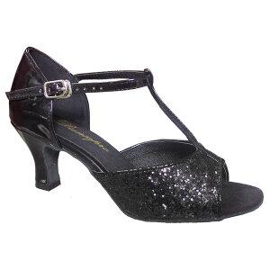 ダンスシューズ・社交ダンスシューズ・レディース【セミオーダー】女性ラテンシューズ・黒ブラック・ラメ160901セミオーダー品ですのであなたにぴったりの1足がつくれますよ♪