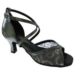 ダンスシューズ・社交ダンスシューズ・レディース【セミオーダー】女性ラテンシューズ・グレー162913セミオーダー品ですのであなたにぴったりの1足がつくれますよ♪