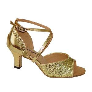 ダンスシューズ・社交ダンスシューズ・レディース【セミオーダー】女性ラテンシューズ・ゴールド・ラメ164803セミオーダー品ですのであなたにぴったりの1足がつくれますよ♪