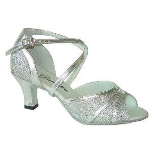 ダンスシューズ・社交ダンスシューズ・レディース【セミオーダー】女性ラテンシューズ・シルバー・ラメ164902セミオーダー品ですのであなたにぴったりの1足がつくれますよ♪