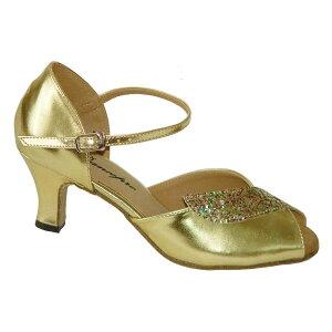 ダンスシューズ・社交ダンスシューズ・レディース【セミオーダー】女性兼用シューズ・ゴールド170404セミオーダー品ですのであなたにぴったりの1足がつくれますよ♪