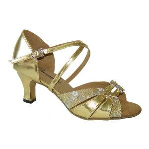 ダンスシューズ・社交ダンスシューズ・レディース【セミオーダー】女性ラテンシューズ・ゴールド・ラメ172404セミオーダー品ですのであなたにぴったりの1足がつくれますよ♪
