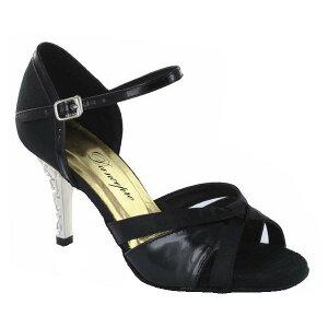 ダンスシューズ・社交ダンスシューズ・レディース【セミオーダー】女性ラテンシューズ・黒ブラック174803セミオーダー品ですのであなたにぴったりの1足がつくれますよ♪