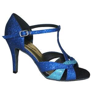 ダンスシューズ・社交ダンスシューズ・レディース【セミオーダー】女性ラテンシューズ・ブルー177902セミオーダー品ですのであなたにぴったりの1足がつくれますよ♪