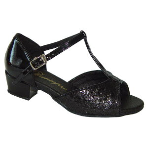 ダンスシューズ・社交ダンスシューズ・ジュニア【セミオーダー】女子・子供ラテンシューズ黒ブラック・ラメ160901Bセミオーダー品ですのであなたにぴったりの1足がつくれますよ♪